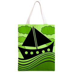 Boat - green Classic Light Tote Bag
