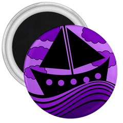 Boat - purple 3  Magnets
