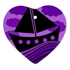 Boat - purple Ornament (Heart)