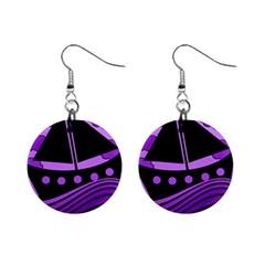 Boat - purple Mini Button Earrings