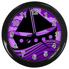 Boat - purple Wall Clocks (Black)