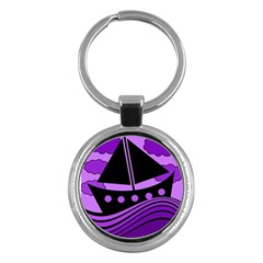 Boat - purple Key Chains (Round)