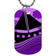 Boat - purple Dog Tag (One Side)