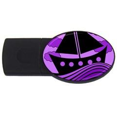 Boat - purple USB Flash Drive Oval (1 GB)
