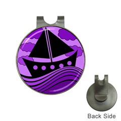 Boat - purple Hat Clips with Golf Markers