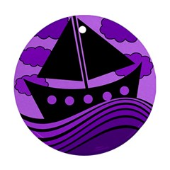 Boat - purple Round Ornament (Two Sides)