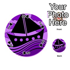 Boat - purple Playing Cards 54 (Round)