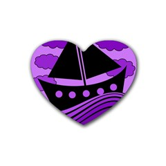 Boat   Purple Rubber Coaster (heart)