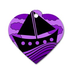 Boat - purple Dog Tag Heart (One Side)