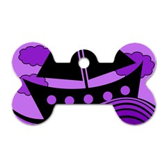 Boat - purple Dog Tag Bone (Two Sides)