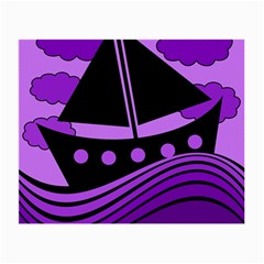 Boat - purple Small Glasses Cloth (2-Side)