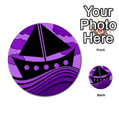 Boat - purple Multi-purpose Cards (Round)