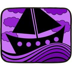 Boat - purple Fleece Blanket (Mini)