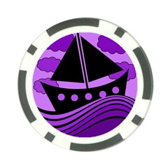 Boat - purple Poker Chip Card Guards (10 pack)