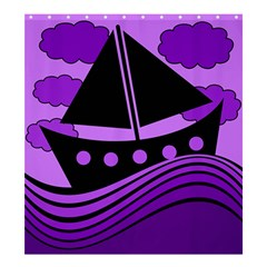 Boat - purple Shower Curtain 66  x 72  (Large)