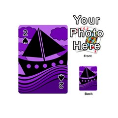 Boat - purple Playing Cards 54 (Mini)