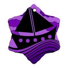 Boat - purple Ornament (Snowflake)