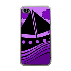 Boat - purple Apple iPhone 4 Case (Clear)