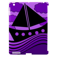 Boat - purple Apple iPad 3/4 Hardshell Case (Compatible with Smart Cover)