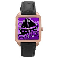 Boat - purple Rose Gold Leather Watch
