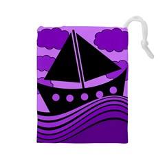 Boat - purple Drawstring Pouches (Large)