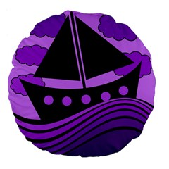 Boat - purple Large 18  Premium Flano Round Cushions