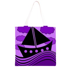 Boat - purple Grocery Light Tote Bag