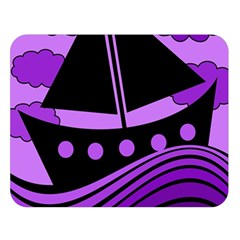 Boat - purple Double Sided Flano Blanket (Large)