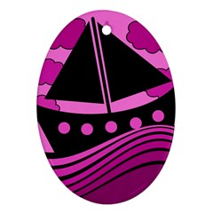 Boat - magenta Ornament (Oval)