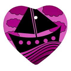 Boat - magenta Ornament (Heart)