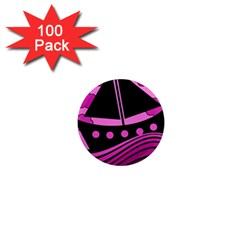 Boat - magenta 1  Mini Magnets (100 pack)