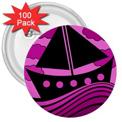 Boat - magenta 3  Buttons (100 pack)