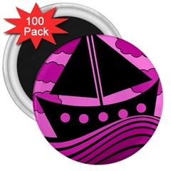 Boat - magenta 3  Magnets (100 pack)