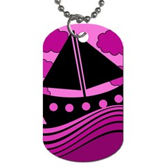 Boat - magenta Dog Tag (Two Sides)