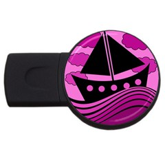 Boat - magenta USB Flash Drive Round (2 GB)