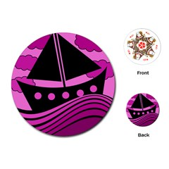Boat - magenta Playing Cards (Round)
