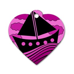 Boat - magenta Dog Tag Heart (One Side)