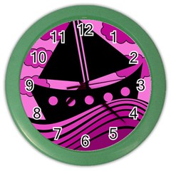 Boat - magenta Color Wall Clocks