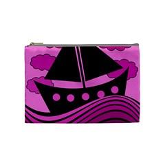 Boat - magenta Cosmetic Bag (Medium)