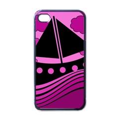 Boat - magenta Apple iPhone 4 Case (Black)