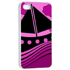 Boat - magenta Apple iPhone 4/4s Seamless Case (White)
