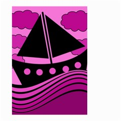 Boat - magenta Small Garden Flag (Two Sides)