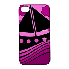 Boat - magenta Apple iPhone 4/4S Hardshell Case with Stand