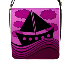 Boat - magenta Flap Messenger Bag (L)