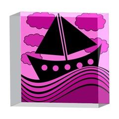 Boat - magenta 5  x 5  Acrylic Photo Blocks