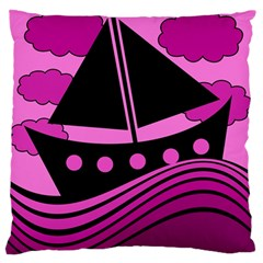 Boat - magenta Standard Flano Cushion Case (One Side)