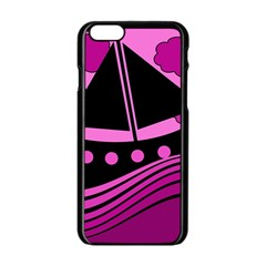 Boat - magenta Apple iPhone 6/6S Black Enamel Case