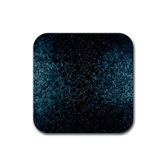 Polygonal And Triangles In Blue Colors  Rubber Coaster (Square)