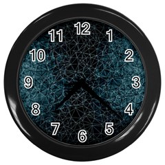 Polygonal And Triangles In Blue Colors  Wall Clocks (black)