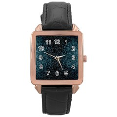 Polygonal And Triangles In Blue Colors  Rose Gold Leather Watch